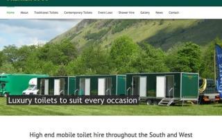 A screenshot of the Premier Luxury Loos website homepage.