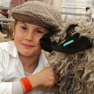 A girl wearing a white shirt and a hat holding a sheep close to her.