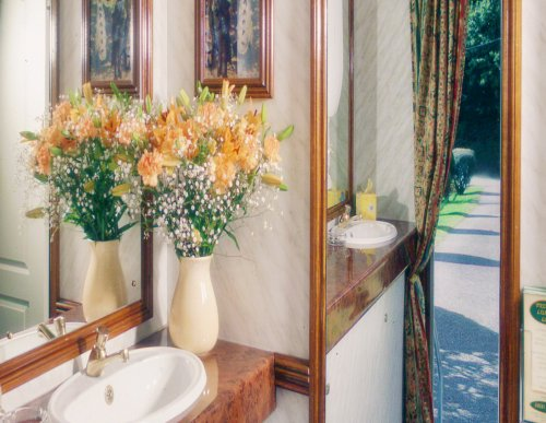 A posh bathroom with wooden interior and orange flowers.